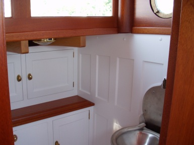 Cabin brightwork done by Rob Thompson Windfall Woodworks at Darling's.