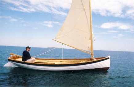 Drag boat by Windfall Woodworks sailing near Cuttyhunk